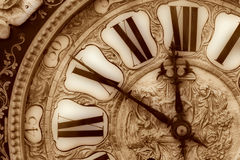 Old clock. Close-up of antique clock of the eighteen century stock image