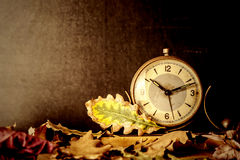 Old clock and autumn leaves background Stock Images