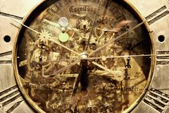 Old clock background. Old golden clock as very nice time background Stock Photo