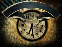 Old clock with banner Royalty Free Stock Photos