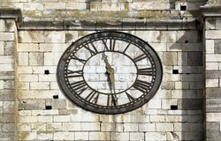 Old clock on a bell tower of church, time measure Royalty Free Stock Images