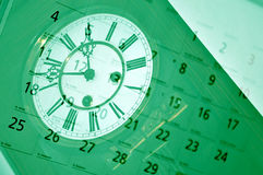Old clock and calendar. royalty free stock photo