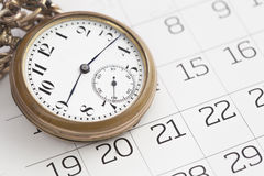 Old clock and calendar, Royalty Free Stock Image
