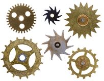 Old Clock Cogs Isolated Stock Images