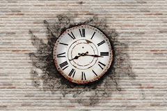 Old clock. 3d rendering of an old clock on a brick wall Stock Photography