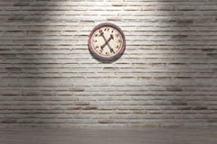 Old clock. 3d rendering of an old clock on a brick wall Stock Images