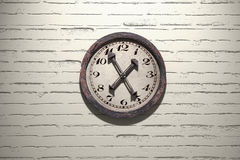 Old clock. 3d rendering of an old clock on a brick wall Royalty Free Stock Photo
