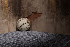 Old clock. 3d rendering of an old clock on a dirty and old wall Stock Photo
