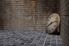 Old clock. 3d rendering of an old clock on a dirty and old wall Stock Photography