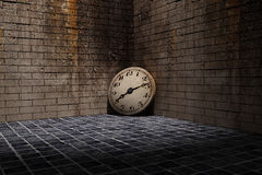 Old clock. 3d rendering of an old clock on a dirty and old wall Royalty Free Stock Image