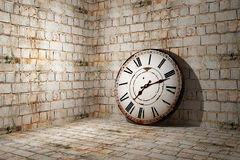 Old clock. 3d rendering of an old clock on a dirty and old wall Royalty Free Stock Photos