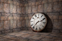 Old clock. 3d rendering of an old clock on a dirty and old wall Royalty Free Stock Photo