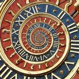 Old  clock in droste effect. Old gold clock in Ruan as droste effect Stock Photo