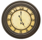 Old clock face five isolated white Royalty Free Stock Photo
