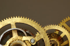 Old clock gears. Close up of antique clock gears Royalty Free Stock Photography