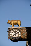 Old clock with golden bull Royalty Free Stock Photos