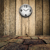 Old clock on grungy wooden wall Stock Images