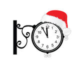 Old clock with happy new year hat vector. Old clock with happy new year hat vector illustration