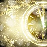 Old clock holiday lights at New year midnight. Vector illustration Royalty Free Stock Image