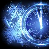 Old clock holiday lights at New year midnight. Vector illustration Royalty Free Stock Images