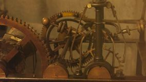 Old clock mechanism close up. stock video