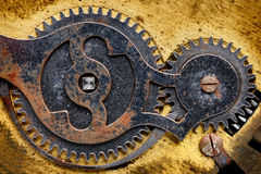 Old clock mechanism. Fragment of old clock mechanism with gears Stock Image