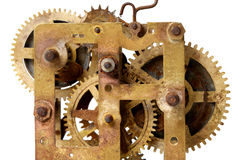 Old clock mechanism. With gears Royalty Free Stock Image