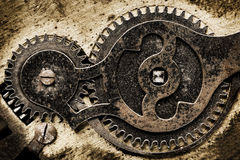 Old clock mechanism. With gears Stock Images