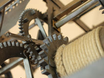 Old clock mechanism with gears. Old clock mechanism with gearse. Toned style photo. Close-up view Stock Images
