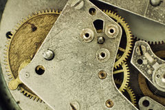 Old Clock Mechanism with Gears taken Closeup. Stock Photography