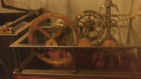 Old clock mechanism in motion. stock video