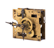 Old clock mechanism. On a white background Stock Images