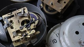 Old clock mechanism working, closeup shot with soft focus. Vintage Watch Gears Movement. Old vintage clock mechanism working, closeup shot with soft focus stock footage