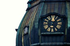 Old clock on medieval church tower, Saint Peters Lutheran church in Riga, Latvia Stock Photography