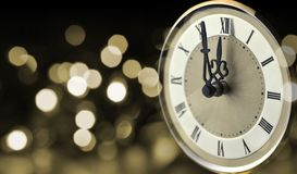 Old clock at New year midnight. Stock Photography