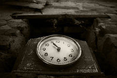 Old clock with one pointer Stock Photos