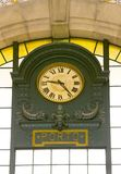 Old clock on Porto train station Stock Photo