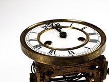 Old clock with roman numerals. Royalty Free Stock Photos