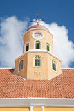 Old clock roof tower with cockerel wind vane Stock Photography