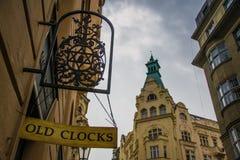 Old clock shop in Prague royalty free stock photos