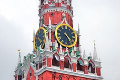 Old clock. Spasskaya Tower of Moscow Kremlin. Stock Photos