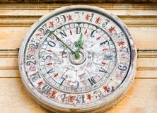 Old clock on St Paul cathedral in Mdina, Malta. Royalty Free Stock Photos
