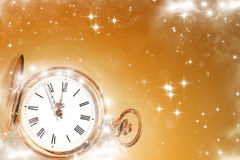 Old clock with stars and snowflakes Royalty Free Stock Photo