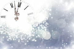 Old clock with stars and snowflakes stock photos