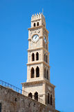 Old clock tower Akko , Acre, Israel Stock Photo