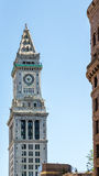 Old Clock Tower in Boston on Blue Sky Royalty Free Stock Photos