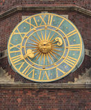 Old clock on tower of the city hall, wroclaw, poland Stock Photos