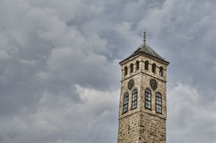 Old clock tower in city sarajevo Royalty Free Stock Photography