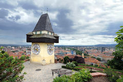 Old clock tower in Graz Stock Photography