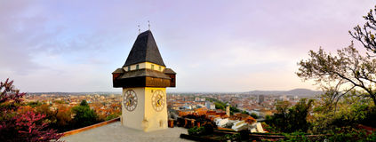 Old clock tower in Graz, 180 degrees panorama Stock Images